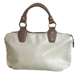 Relic Ivory Leather Bag Braided Handles